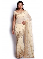 Beige and Gold Chiffon Saree